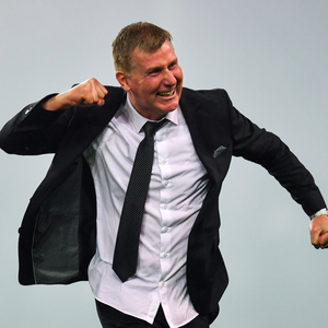 Dundalk manager Stephen Kenny celebrating at the final whistle of the Irish Daily Mail FAI Cup Final match between Cork City and Dundalk at the Aviva Stadium in Dublin