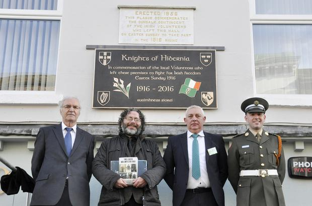 Gerry Woods (left), President Of The Knights Of Hibernia, Marcus Howard, Author and Film Maker, Noel Agnew and Padraig Agnew at the unveiling of a Commemorative Plaque to men who left the society's premises to fight for Irish freedom on Easter Sunday 1916. Picture Ciarán Dunbar/Newspics
