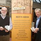 Pictured at the launch of Dundalk Men's Shed book, Tall Tales and Short Stories, at the County Library Jocelyn Street Dundalk, left to right, authors Chris McShane and George Marley, and Gene Yore, chairman Dundalk Men's Shed