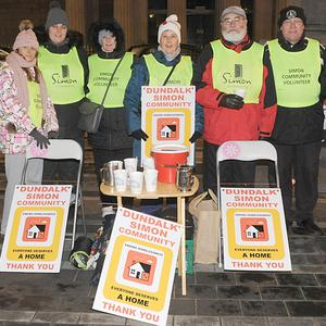 Julie Conway, Roisin Curtis, Rose McDonald, Maeve Curtis, Terry Curtis, Ray Savage and Tony O'Hagan at the annual sleep out at Market Square in aid of Dundalk Simon Community. Photo by Aidan Dullaghan/Newspics