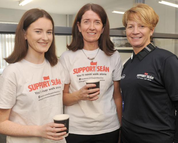 Shauna and Martina Cox, with Sinead O'Callaghan at the Coffee Morning supporting Seán Cox in Precision Cables, Mulholland Avenue