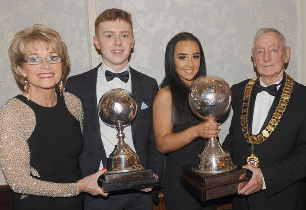 Mona Roddy-Lennon, Gareth O'Connor, U-17 All-Ireland Champion and Runner-up in the U-18 World Championship, Alannah Murray, U-21 Ladies World Champion and Sean Fegan, President, Irish Dancing Commission at the Scoil Rince Móna Ní Rodaigh celebration night in The Carrickdale Hotel