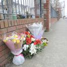 The floral tribute on the Avenue Road in memory of Yosuke Sasaki. Photo: Aidan Dullaghan/Newspics.