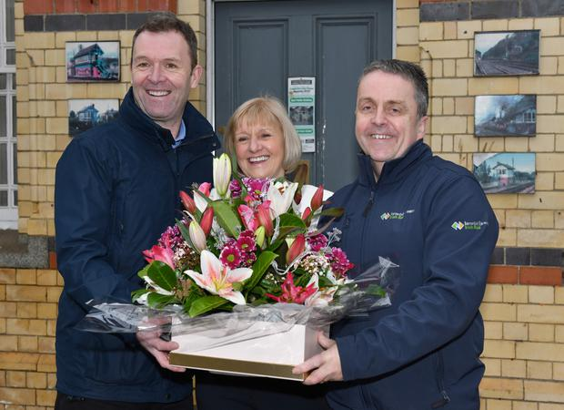 Evelyn Fitzsimons who retired from Iarnród Éireann after forty three years pictured receiving a presentation from Willie McLoughlin and Maurice Murphy on her last day