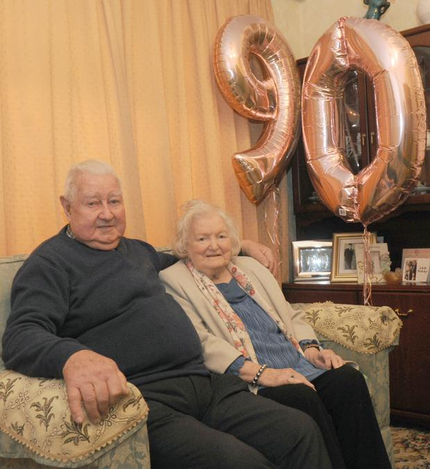 Austin Dawe and Nancy Bogan, neighbours from Fairgreen Row, who both celebrated their 90th birthday on January 10th