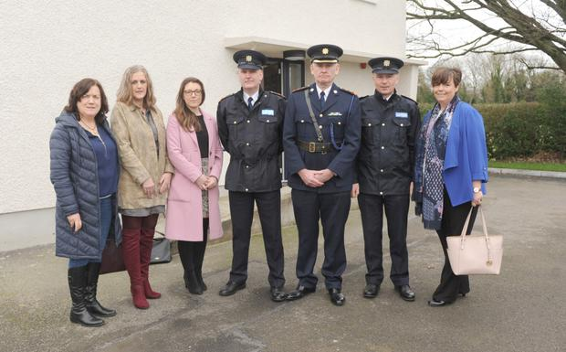 Garda Chief Superintendent Christopher Mangan, Superintendent Gerard Curley and Superintendent Desmond McTiernan, with Martina McGarvey, Mary Flaherty, Eilis O'Connor and Helena Grenham, Tusla at the official opening of the Louth Division Protective Services Unit at Castlebellingham Garda Station