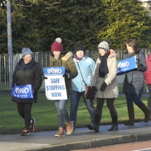 A group of nurses taking part in the INMO picket