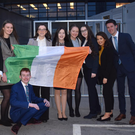 Dundalk student Caoihe McCormick with fellow second level students in the EU parliament