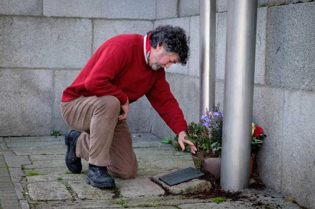 Peter O'Connor visits the memorial to the victims of the 1975 Loyalist bombing on Crowe Street