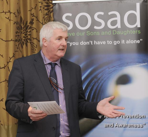 Enda Rafferty speaking at the launch of the SoSad fundraising draw in The Crowne Plaza. Photo: Aidan Dullaghan/Newspics.