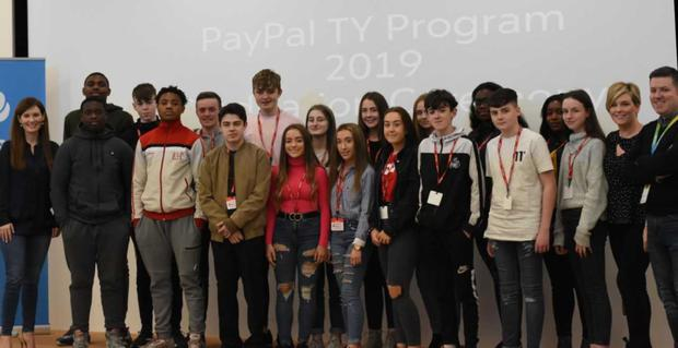 Pictured at PayPal's Dundalk offices are PayPal's Laura Morgan Walsh, Senior Director of Global Seller Risk Services and Dundalk Site Leader; David Quinn, Director of Collections; and Lynette Reilly, Site Program Lead and Transition Year Co-ordinator; alongside students from a range of schools and colleges including Dundalk Grammar School, De La Salle College, St. Vincent's Secondary School, Bush Post Primary School and Coláiste Chú Chulainn.