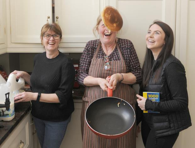 Mary O'Hanlon, Rose Bailey and Katie Bailey at the 'Pancake Day' fundraiser