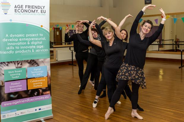 Local Entrepreneur Cheryl Malone of Malone Dance Academy limbers up for the free LEO Louth Business Bootcamp