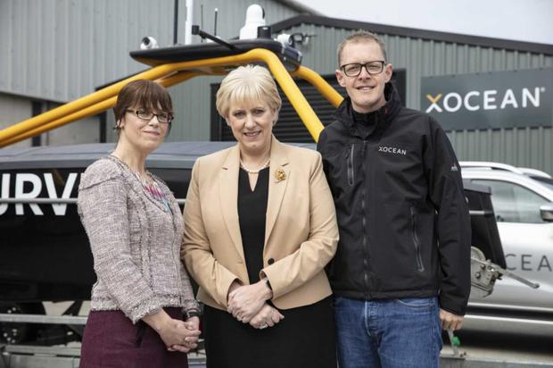 Pictured left to right: Jennifer Melia, Enterprise Ireland, Heather Humphreys TD, Minister for Business, Enterprise and Innovation and James Ives,CEO,XOCEAN