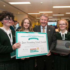 Minister Sean Canney with pupils from St Louis Secondary School