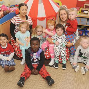 Samantha Gilligan and Samantha Waring with a group in The Holy Family Parish Community Creche during National Pyjama Day. Photos: Aidan Dullaghan/NEWSPICS