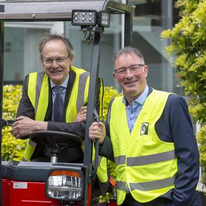 Paul Rogan, Director Business Control, TMFL Product Business and DkIT President Michael Mulvey, PhD, at the MOU signing to launch a new DkIT-Cargotec Engineering Partnership Agreement in the Cargotec HQ in Dundalk