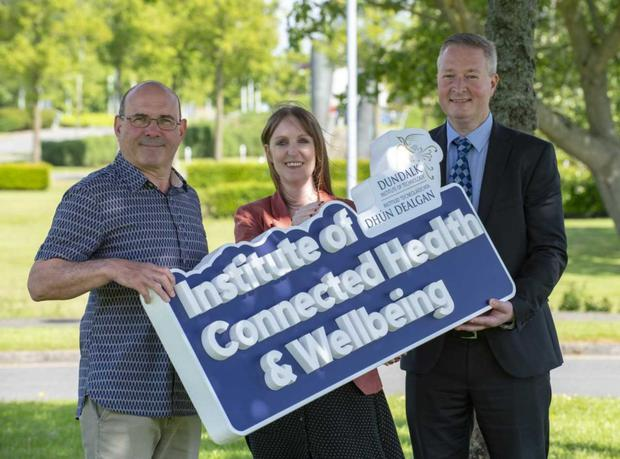 Dr Keith Thornbury (Smooth Muscle Research Centre at DkIT), Dr Julie Doyle (Netwell/Casala) and Dr Fergal McCaffrey (Regulated Software Research Centre), at the launch of the new DkIT Institute of Connected Health & Wellbeing