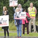 The protesters outside Dundalk Stadium on Friday afternoon
