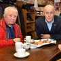 Bob Finn and Elaine Shields with Thomas McGivern at the coffee morning to celebrate Thomas' 40th anniversary working in Connell and Company, Church Street