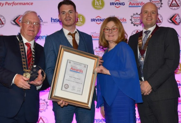 Harry Galvin, President, National Irish Safety Organisation (NISO), Gerard Morgan, Group Health and Safety Officer, Aura Holohan Group, Sharon McGuiness, Chief Executive, Health and Safety Authority, John Thompson, Chairperson, Northern Ireland Safety Group (NISG) at the awards ceremony.