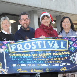 Fiona Cunningham, Martin McElligott, Sinead Roche, Dundalk BIDS Office, Deborah Gorman, Cuchullain Credit Union, Mary Carolan, Louth County Council and Elaine McGeough, Manager, Long Walk Shopping Centre at the launch of Frostival at Market Square