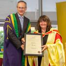 Prof Eleanor Jennings at the conferring of professorships with Dr Michael Mulvey, DkIT President