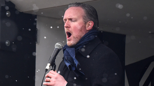 Not exactly the 'Four Seasons' but two of them as singer Gavan Ring performs during his 'Festival in a Van' concert at Moorehall Lodge Ardee. Photos by Ken Finegan / www.newspics.ie