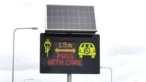 New smart electronic warning signs for motorists advising them of their speed and to take care of cyclists, on the Dublin Road