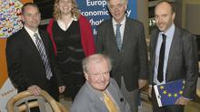 Former Deputy Director of the IMF, Dr. Donal Donovan, with speakers at the seminar (back, from left) Graham Stull, Economic Analyst, European Commission; Noelle O'Connell, European Movement; Brendan Keenan, Economics Columnist, Irish Independent; and Jonathan Claridge from the EU Commission.
