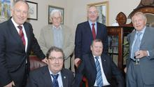 John Hume (front left) with John Hanlon, Dermot Ahern TD, Seamus Mallon, Mark Durkan, then SDLP Leader and Neil McCann at the special SDLP reception in honour of John Hanlon and Neil McCann held in Carlingford some years ago