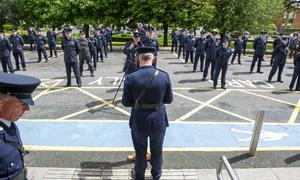 Chief Superintendent Christy Managan speaks to his Garda colleagues in Dundalk