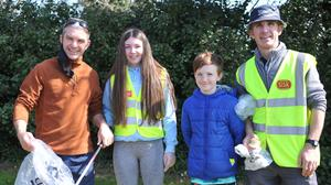 Seán, Saoirse, Jack and Gary McBride pictured taking part in the recent Jenkinstown clean up. Photo: Aidan Dullaghan / Newspics