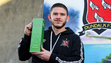 Sean Murray of Dundalk with his SSE Airtricity SWAI Player of the Month Award for October 2020 at Oriel Park in Dundalk, Louth. Photo by Matt Browne/Sportsfile
