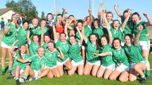 The Geraldines squad celebrate their victory over St. Brides in the Louth Ladies Senior Championship Final in Stabannon. Photo: Aidan Dullaghan/Newspics