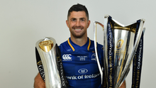 Rob Kearney of Leinster with the Champions Cup and PRO14 trophies following the Guinness PRO14 Final between Leinster and Scarlets at the Aviva Stadium in Dublin