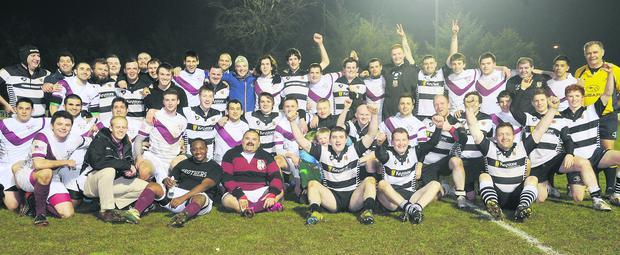 Members of Molloy College and Dundalk RFC join forces as part of The Gathering celebrations at Mill Road