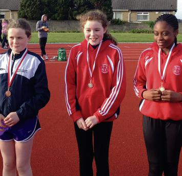 The u12 girls high jump medallists: Dunleer's Saoirse Holmes(3rd) with St Gerard's AC's Ellen Murphy(2nd) and Patricia Jumb-Gula(1st) at the Louth championships in Drogheda.