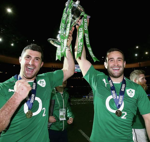 Rob and Dave Kearney celebrate Ireland's overall win in the RBS 6 Nations Championship