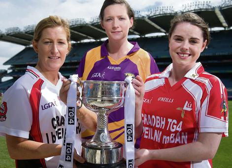 Louth's Michelle McMahon (right) at the TG4 All-Ireland Ladies Football Championship launch in Croke Park with Derry's Ashelene Groogan (left) and Clara Donnelly of Wexford.
