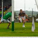 17 May 2015; Ray Connelan, Westmeath, scores his side's third goal past Neil Gallagher, Louth