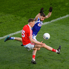 Ryan Burns of Louth in action against Adam Campion of Laois during the Allianz Football League Division 3 Round 2 match between Laois and Louth at Croke Park in Dublin. Photo Sportsfile