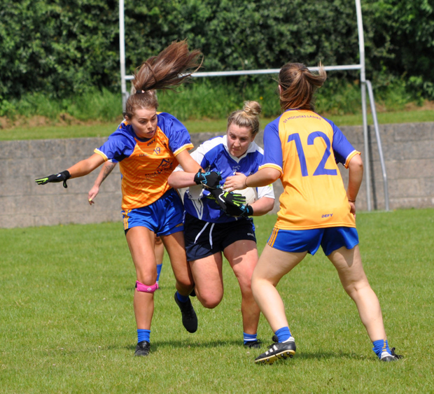 Action from the Halpenny Travel Ladies SFC quarter-final between Roche Emmets and St Mochta's