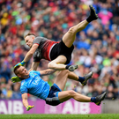 Mayo goalkeeper Rob Hennelly collides with Con O'Callaghan of Dublin during Saturday's semi-final in the All-Ireland Senior Championship at Croke Park. Photo: Sportsfile