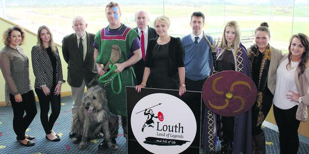 Ciara Cox (DKIT), Katie Horigan (DKIT), Tim Mullins (Chair of An Tain March), Dougall (The Irish Wolfhound), Owen Whelan (Cuchulainn), Michael McCabe (Business Support Manager Louth County Council), Emma Meehan (Dundalk Stadium), Adrian O'Sullivan (Tourism & Business Support Louth County Council), Claire Foley (Queen Maeve), Claire Moriarty (DKIT), Emily Whyte (DKIT).