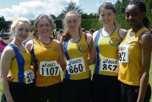 Blackrock AC athletes at the Leinster Track & Field Championships in Tullamore last weekend, (l to r) Megan McGuigan, Aoife Cunningham, Rebecca Carr, Annabelle Morris and Joy Akpemoses.