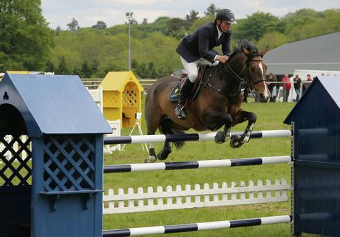 2002 World Show Jumping Champion Dermott Lennon competing in the 2013 Longines National Grand Prix at Ravensdale Lodge. Photo: Niall Connolly.