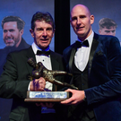 Gary Rogers, right, of Dundalk is presented with the Goalkeeper of the Year award by Alan O'Neill. Photo by Seb Daly/Sportsfile