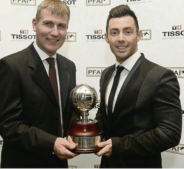 Richie Towell, right, Dundalk FC, nominated for the Premier Division and Young player of the year awards with Stephen Kenny, Dundalk FC manager. Photo: David Maher