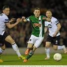 Gary Buckley, Cork City, in action against Andy Boyle, Dundalk